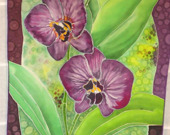 "Silk scarf ""purple orchids"" hand painted original design purple green wall hanging #S203"