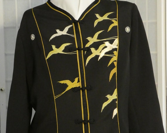 "Petite Medium Black silk jacket ""Flying Birds"" from vintage kimono, Special Occasion, Hand painted Asian motifs. One of a Kind. #F70"