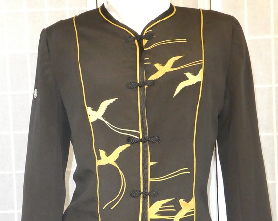 "Small Black silk jacket ""Flying Birds"" from vintage kimono, Special Occasion, Hand painted Asian motifs. One of a Kind. #F71"