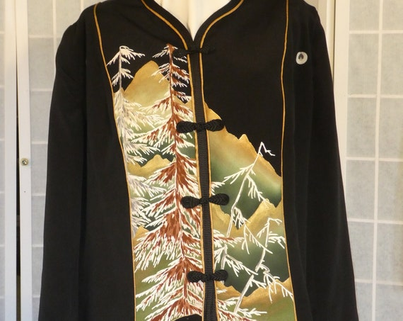 "Plus size Black silk jacket ""Winter trees"" from vintage kimono, Special Occasion, XXL blazer #F66"