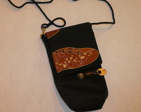 Silk messenger bag made from vintage Japanese kimono. Small lined pouch black, rust, gold #B91