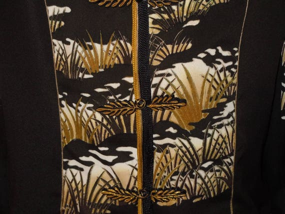 Silk of Asian a Black F37 kimono size from XL One jacket motifs Kind vintage petite 1ZUPqdZ