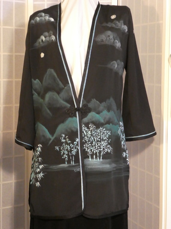 "Hand painted silk jacket duster from Japanese kimono silk ""Bamboo Landscape"" Size Small #L84"