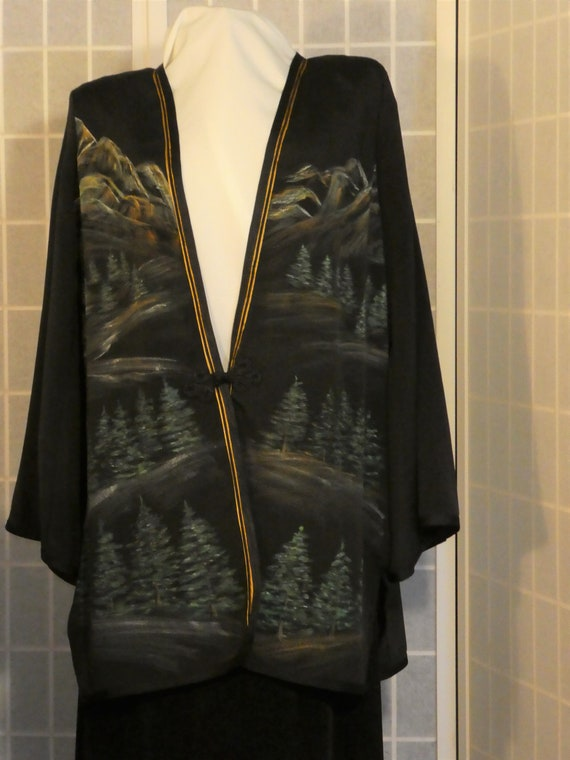 Hand painted silk jacket duster from Japanese kimono silk Size Extra Large #L85