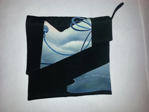 Silk ipad tablet sleeve cover bag from vintage Japanese kimono.  Black with blue and white highlights. Lightly padded and fully lined