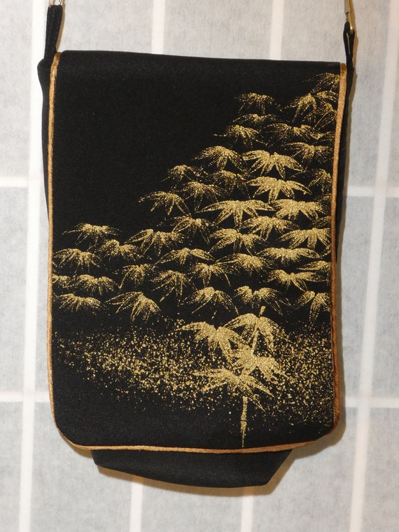 Silk messenger bag made from vintage Japanese kimono. Small lined pouch black gold Asian leaves #B95