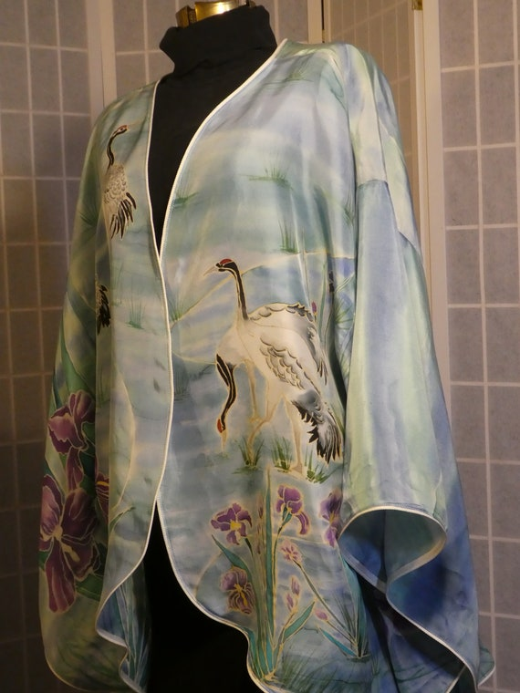 Silk kimono hand painted silk top; size Large; original design hand painted silk; blue green; cranes birds iris flowers #V14