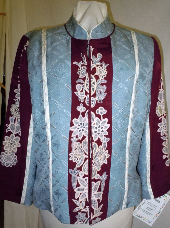 Blue-gray and maroon silk jacket from vintage Japanese kimono, one of a kind, handpainted, size large