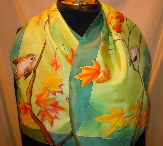 Hand painted silk scarf little birds on branches. Original design. green, aqua #S84