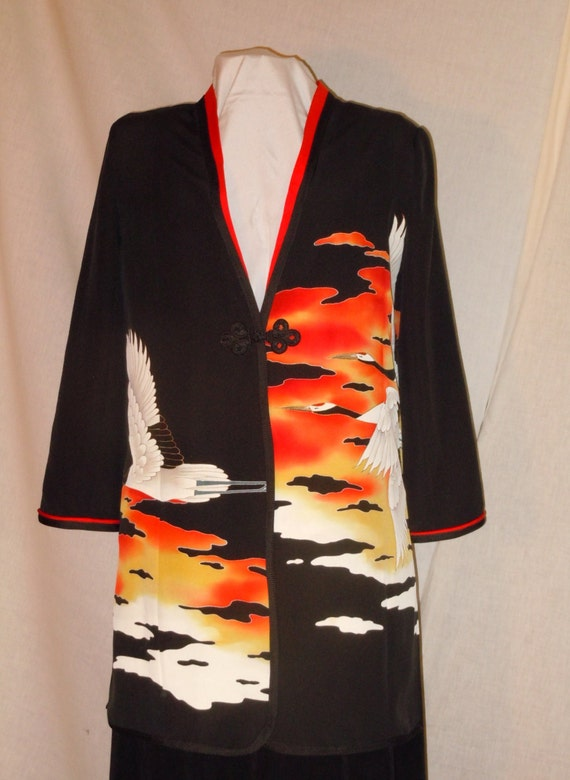 Black Small jacket / duster / tunic from vintage Japanese kimono.  Handmade one of a kind. Flying cranes. #L34