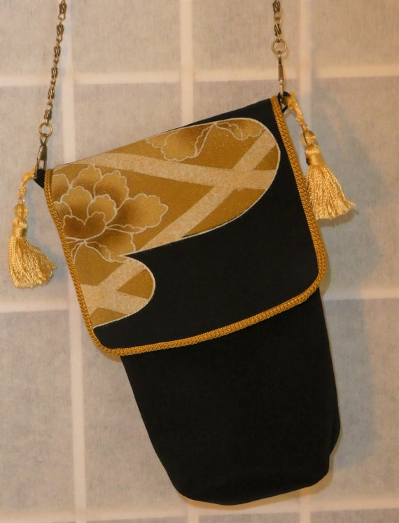 Silk messenger bag made from vintage Japanese kimono. Small lined pouch black, tan, gold #B92