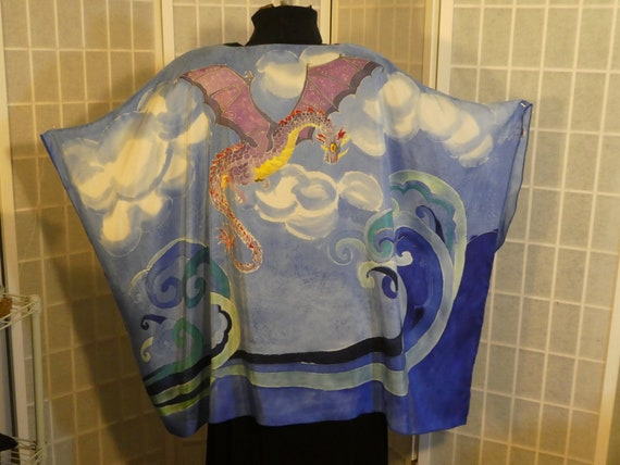 "Silk poncho ""Dragons"" hand painted silk top; one size silk tunic; original design hand painted silk; blue tunic; #V15"