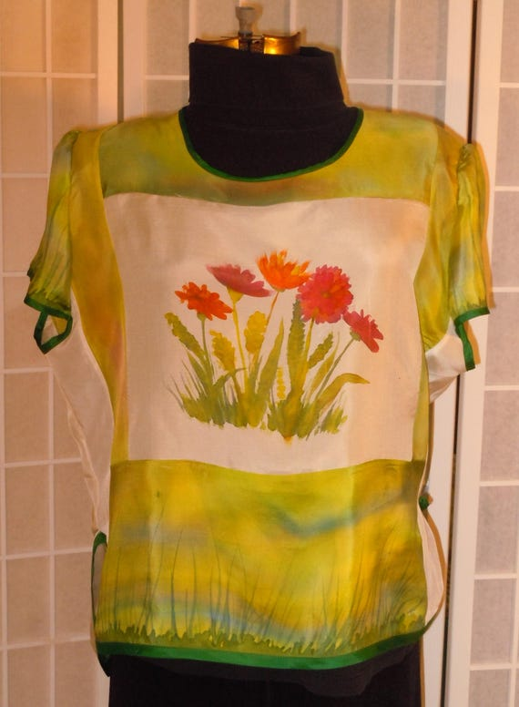 Silk top hand painted silk blouse size medium top; green and white silk shirt; original design; hand painted flowers; floral top; #V9