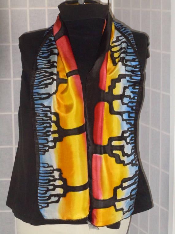 "Silk scarf ""sunset trees"" handpainted original design black red orange scarf #S163"