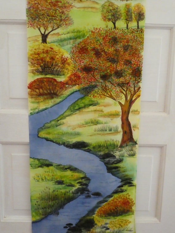 "Silk painting wall hanging ""Autumn Fields"" Original Art River landscape W1"
