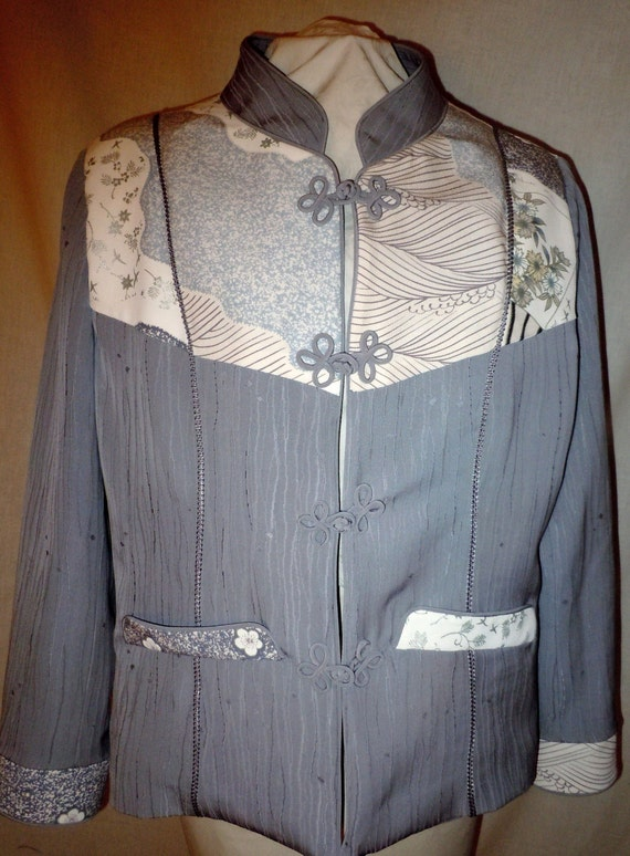Gray silk jacket from vintage kimono, one of a kind with handpainted motifs, size large