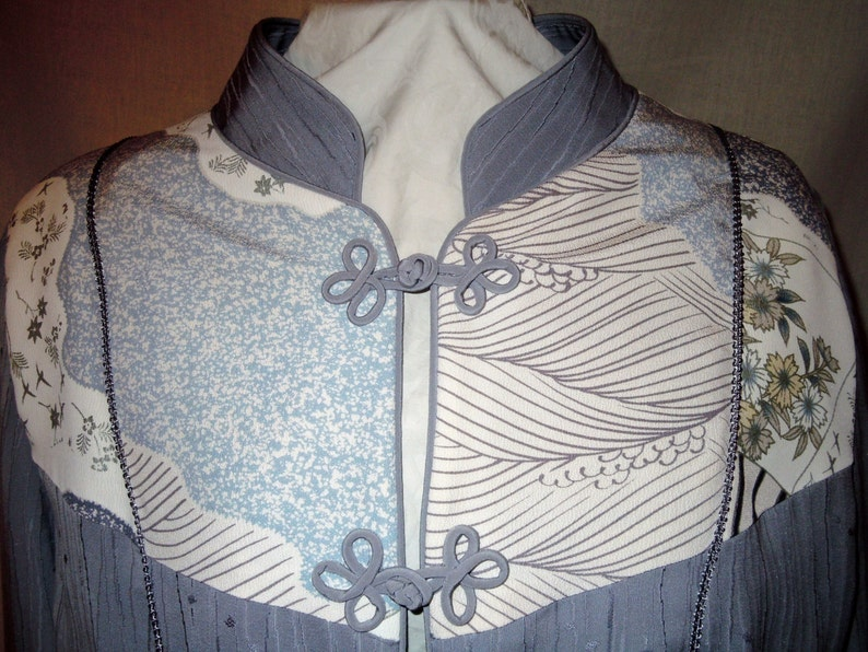 size large Gray silk jacket from vintage kimono one of a kind with handpainted motifs