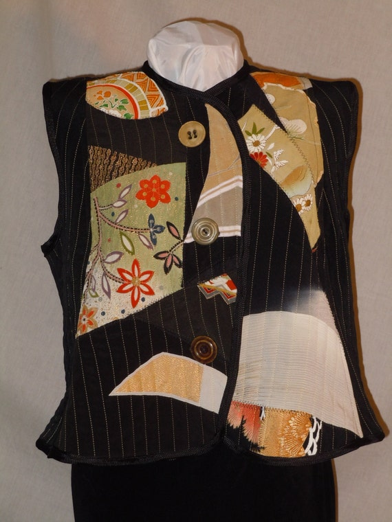 Black XXL vest, quilted patchwork silk from Japanese kimono. One of a kind