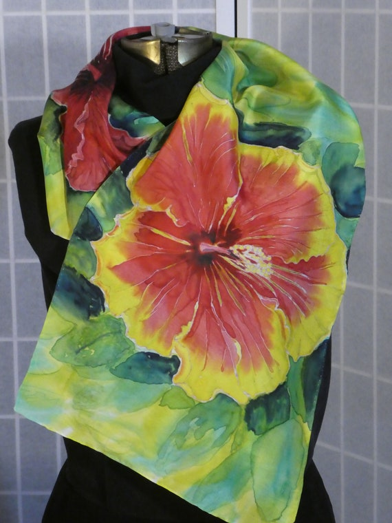 "Silk scarf ""hibiscus"" hand painted original design red green wall hanging #S199"