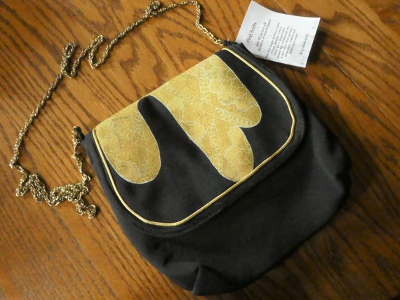 Silk messenger bag made from vintage Japanese kimono.  Black with gold, brown Asian motifs. Fully lined B70
