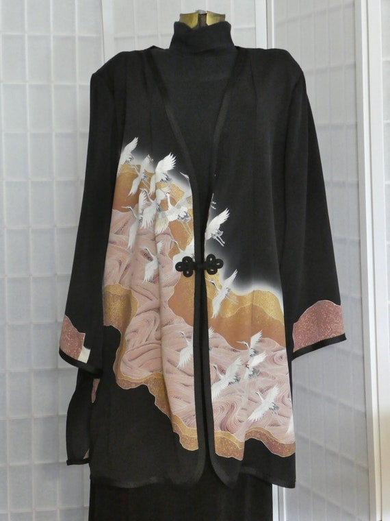 """XXL silk jacket duster from Japanese kimono silk """"Cranes over Waves"""" #L88"""