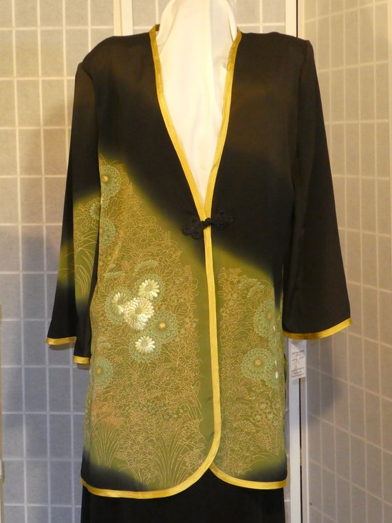 "Black, green, gold silk jacket ""Asian flowers"" duster from Japanese kimono silk Size Medium #L90"