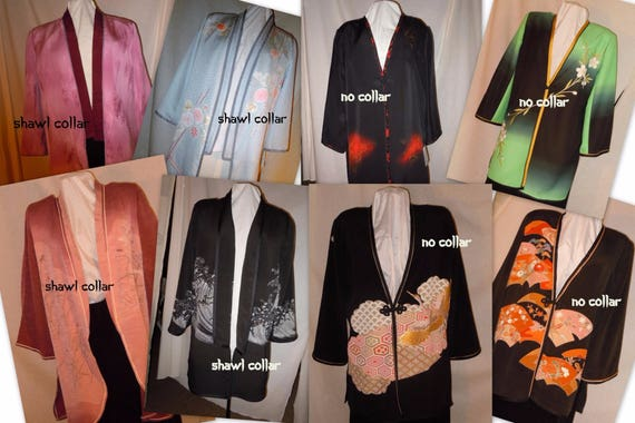 Custom order one of a kind silk jacket from vintage Japanese kimono. Made to order loose, unlined jacket