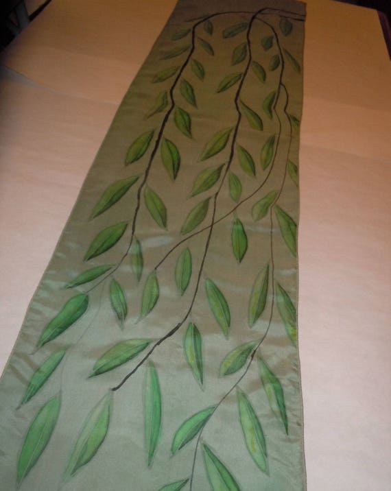 "Silk scarf ""willow branches"" hand painted original design gray green scarf #S168"