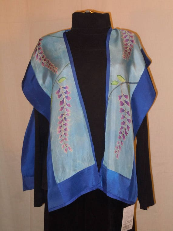 "Silk shawl ""wisteria"" hand painted silk top; one size silk tunic; original design hand painted silk; blue tunic; #V11"