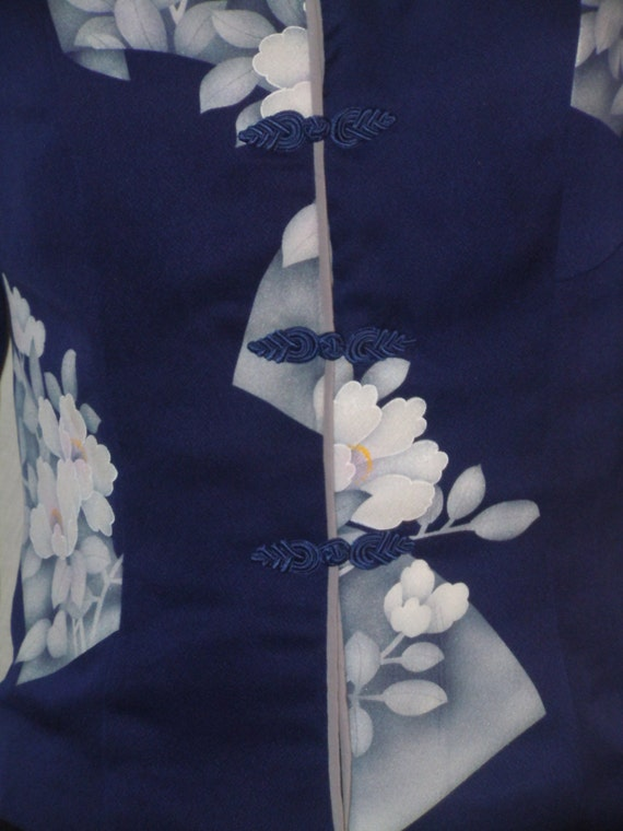 Japanese Size gray a Small Blue Lined Asian kimono Kind F48 Fully of vintage and One from silk motifs jacket qn8nYC