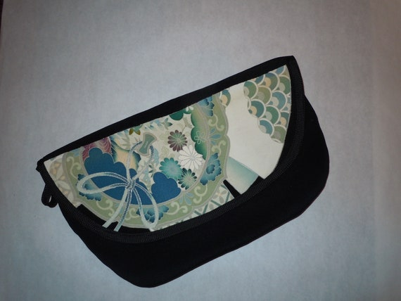 Silk clutch bag from vintage Japanese kimono.  Black with blue and white highlights. Fully lined B74
