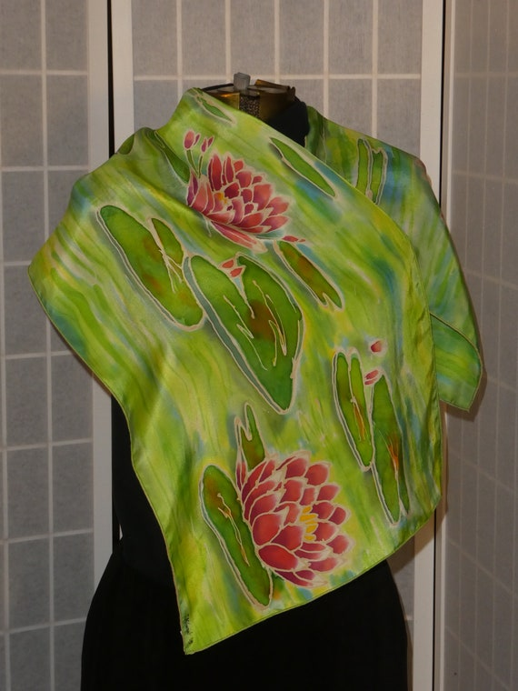 "Silk scarf ""water lilies"" hand painted original art to wear #S183"