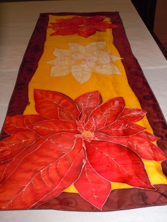 "Silk scarf ""poinsettias"" hand painted original design red orange rust #S165"