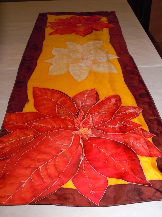 """Silk scarf """"poinsettias"""" hand painted original design red orange rust #S165"""