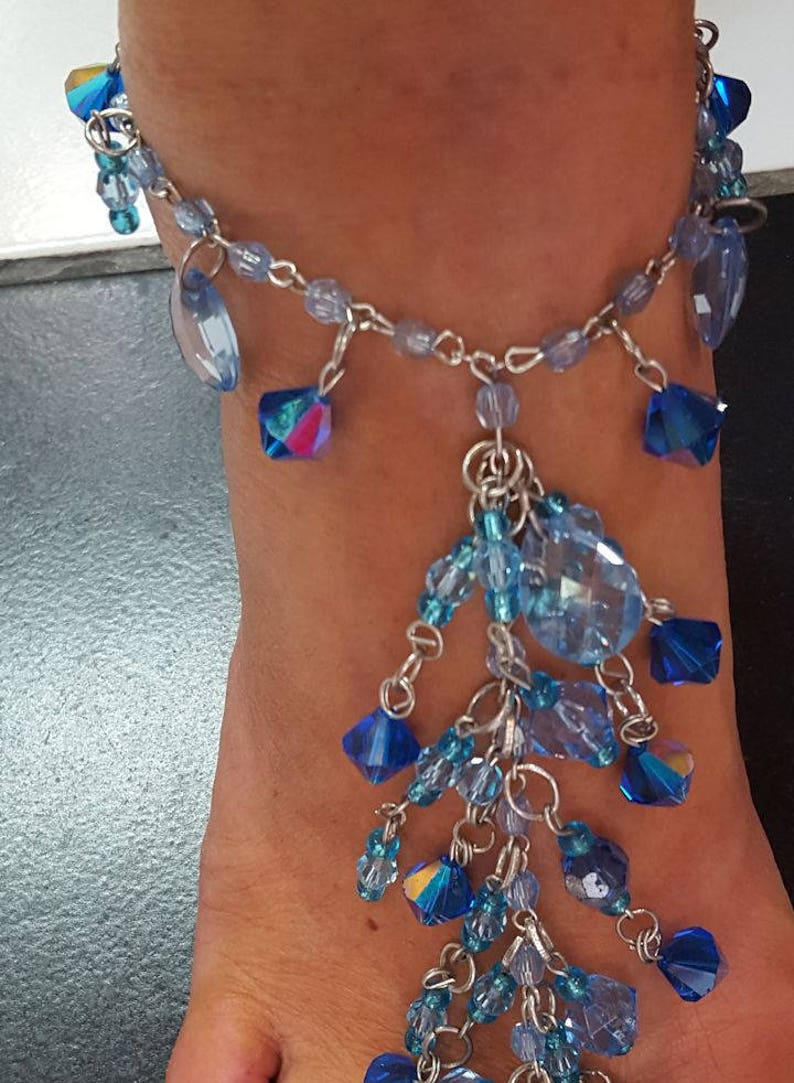 To Die For Barefoot Anklet Blues Genuine Austrian crystal ONE size