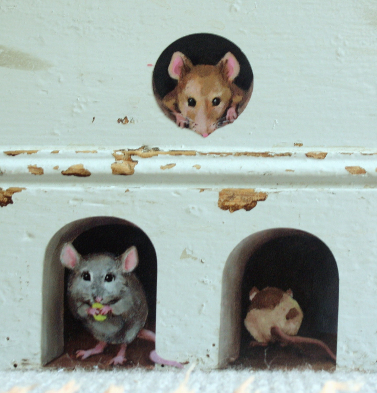 3 x miniature mice/ mouse hole decals unique stickers from   Etsy