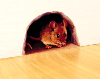 Mouse Hole Wall Sticker / Decal for the Skirting Board, mini mural (SKU: nm)