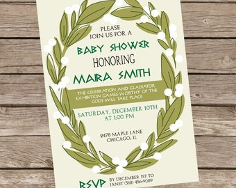 Unique baby shower invitations etsy greek themed baby shower invitation greek shower invite greek mythology zeus green ivy baby shower unique theme acient greece filmwisefo