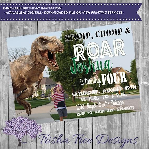 Dinosaur Birthday Invitation T Rex Bday Invite Roar Four