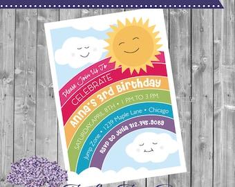 Rainbow Birthday Invitation - Rainbow Birthday Invite - Birhday Theme - Invite - Invitation - Rainbow Birthday - Colorful - Clouds - Rainbow