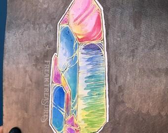 Original Watercolor   Aura quartz   19x15cm