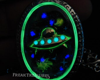 Enchanted  Galaxy UFO glass locket hypoallergenic, moonchild, encounters
