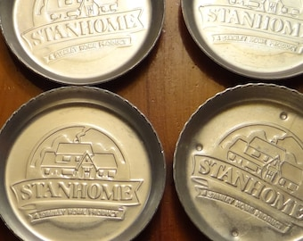 10 Vintage Metal Stanhome Stanley Home Products Drink Coasters Home Parties 1970s