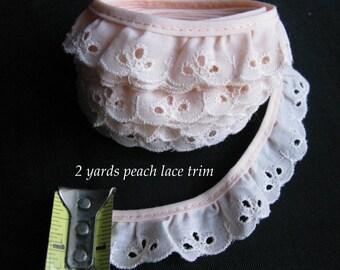 Peach eyelet lace ruffle trim by the yard 2 yards vintage