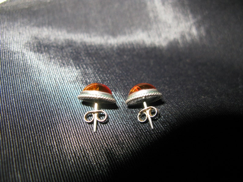 Amber stud earrings sterling silver vintage earrings pierced