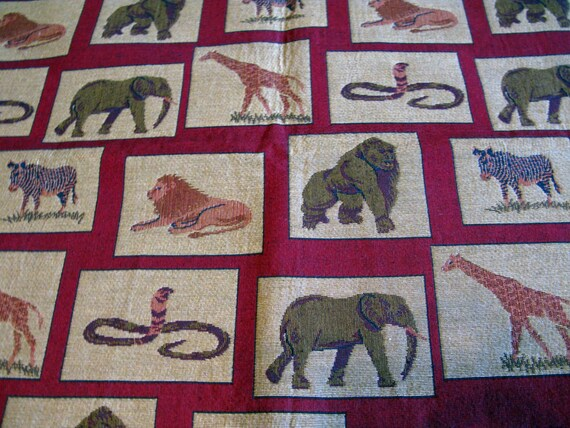 Elephant Tapestry Fabric Upholstery Discontinued Fabric Etsy