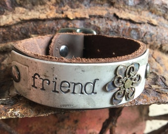 Personalized 1954 Rustic Silver License Plate Bracelet with Double Darkened Brass Filigree Flower on Leather Band  - Custom Handstamped