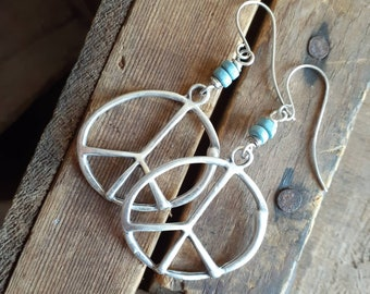 Hammered Antique Silver Peace Dangle Earrings ... Sterling Silver Earwires ... Minimalist ... Simple ... Rustic ... Hippie Chick