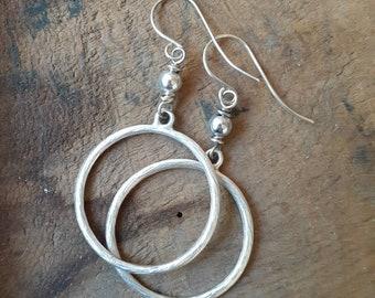 Antique Silver Circle Hoop Dangle Earrings ... Sterling Silver Earwires ... Minimalist ... Simple ... Rustic