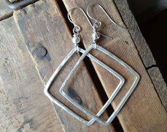 Hammered Antique Silver Open Square Dangle Earrings ... Square Hoop ... Sterling Earwires ... Geometric ... Minimalist ... Simple ... Rustic